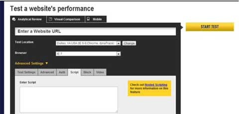 Customizing web page speed tests using scripts